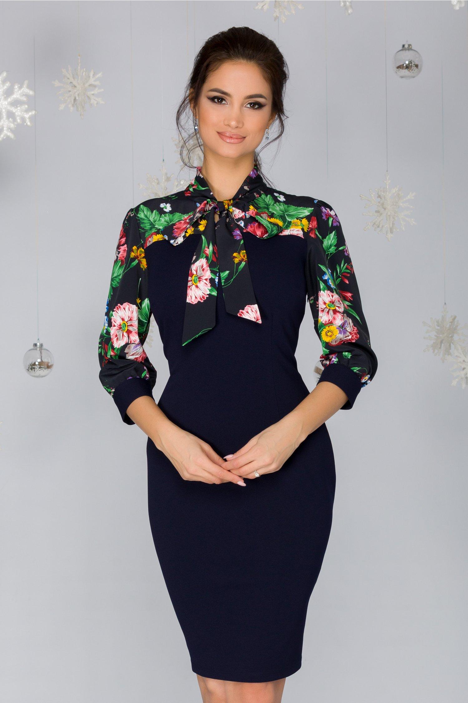 Rochie Aura bleumarin cu imprimeu floral in partea superioara
