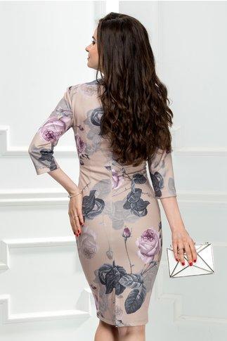 Rochie Aura Carina bej cu imprimeu trandafiri lila