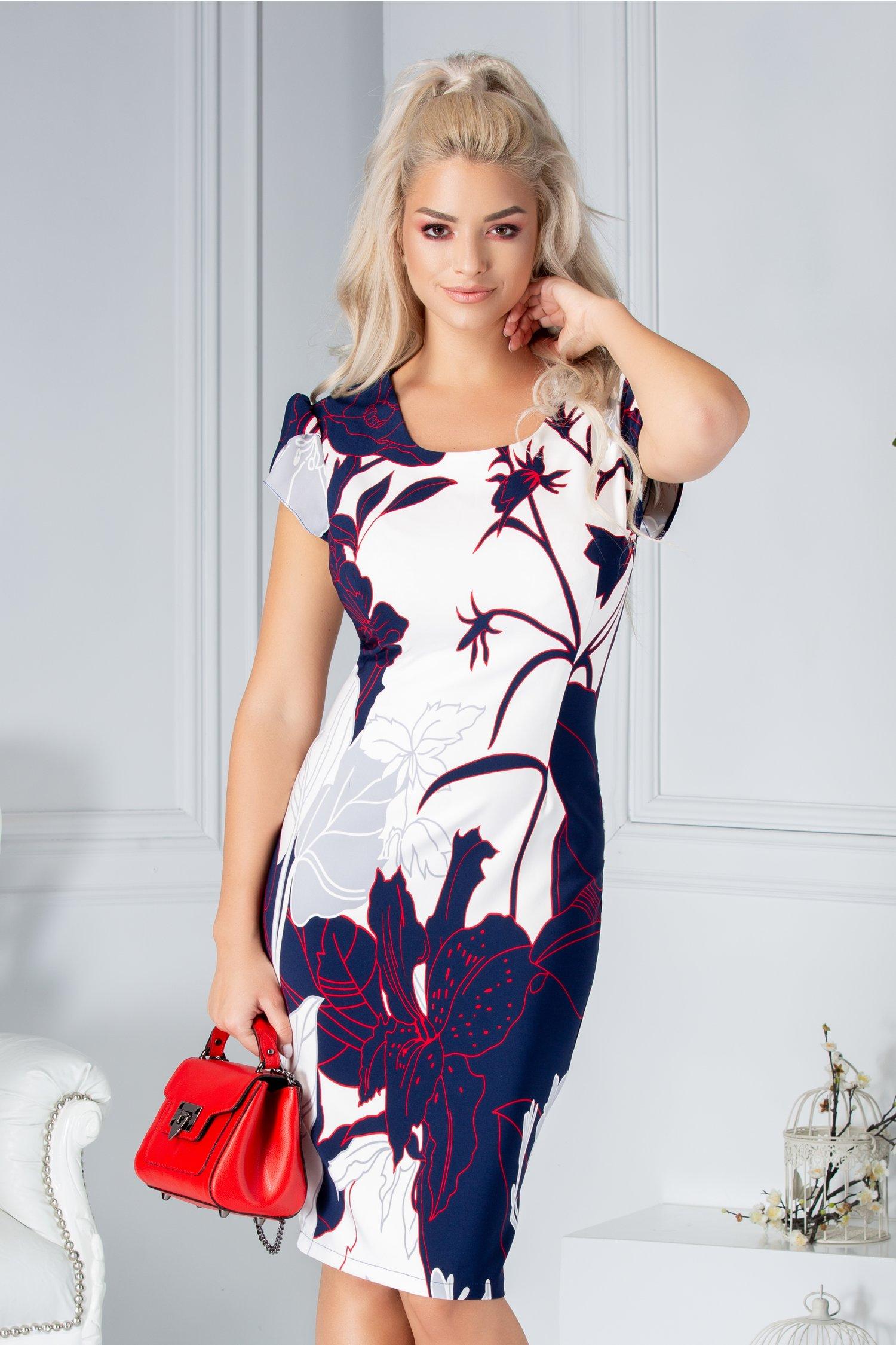 Rochie Aura conica alba cu imprimeu bleumarin