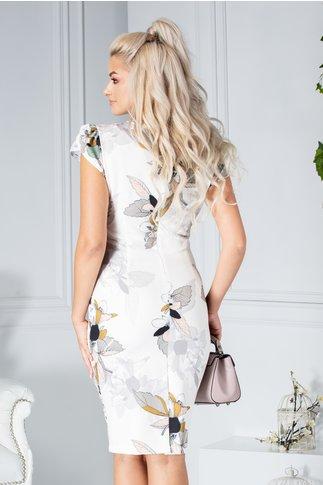 Rochie Aura conica ivory cu imprimeu floral pastelat