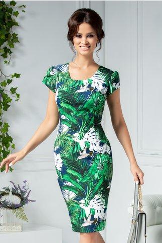 Rochie Aura cu imprimeu verde exotic
