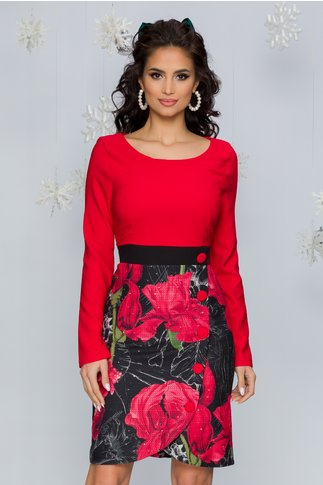Rochie Aura rosie cu imprimeu floral maxi in partea de jos