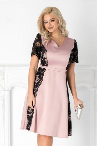 Rochie Aura roz pudra din tafta si dantela neagra