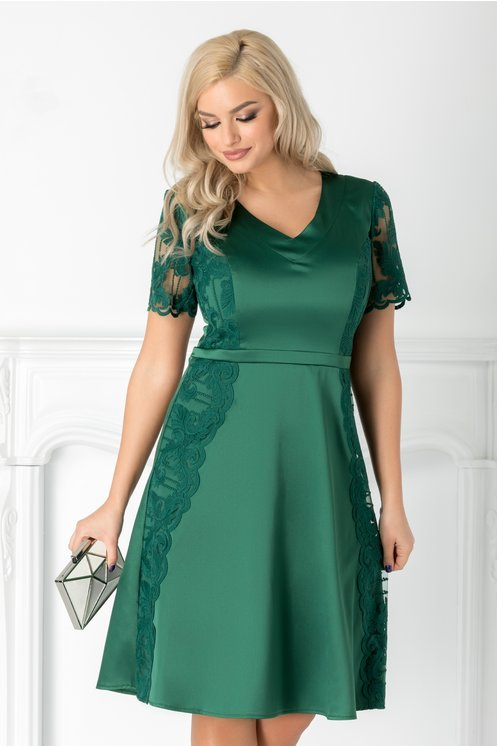 Rochie Aura verde din tafta si dantela