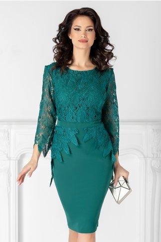 Rochie Aurora verde cu dantela de ocazie