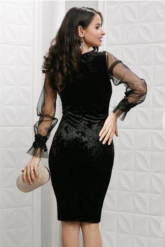 Rochie Leonard Collection Ava neagra din catifea cu maneci tull