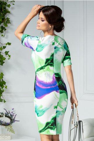 Rochie Avery de zi cu imprimeu verde-violet