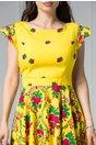 Rochie Avia scurta galbena cu imprimeuri colorate