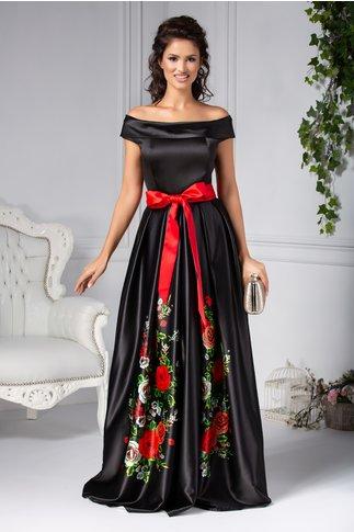 Rochie Avina lunga de seara neagra cu trandafiri