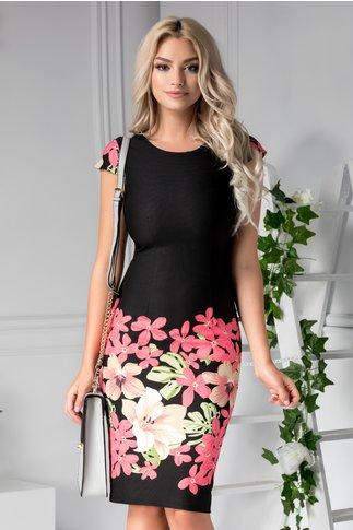 Rochie Axi neagra de zi cu flori roz midi