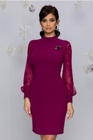 Rochie Ayana magenta cu maneci din dantela si tull
