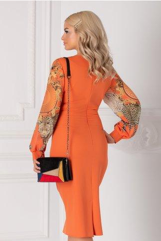 Rochie Ayana orange cu maneci din voal cu print si margelute la guler