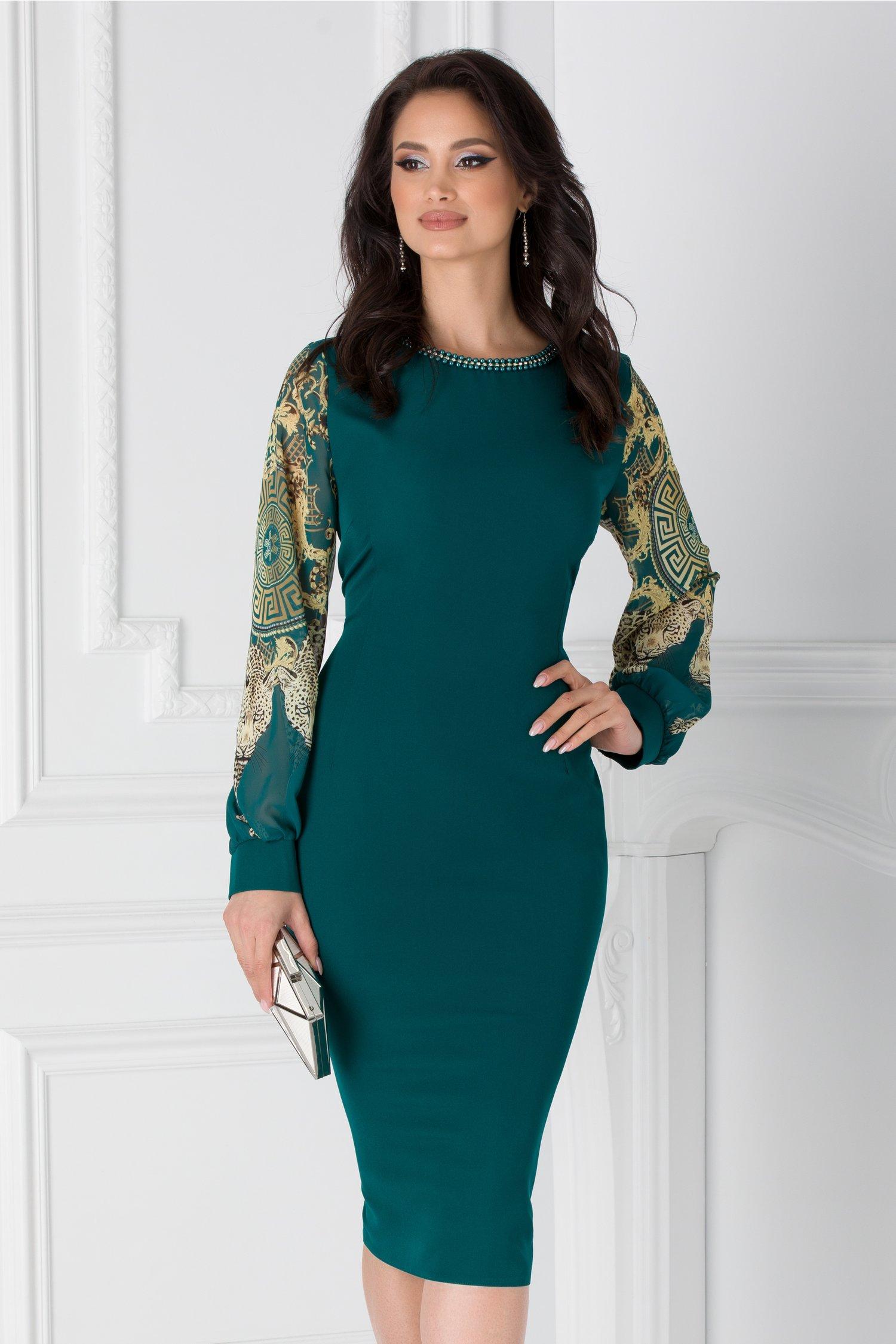 Rochie Ayana verde cu maneci din voal cu print si margelute la guler