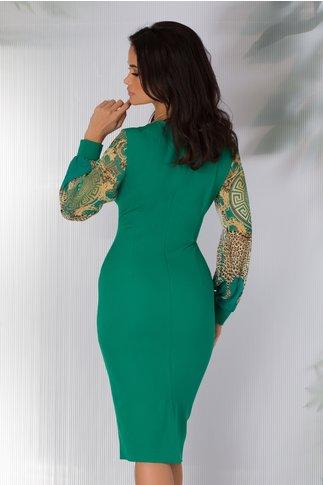 Rochie Ayana verde deschis cu maneci din voal imprimat
