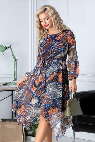 Rochie Aza din voal cu imprimeu mozaic in nuante de albastru si caramiziu