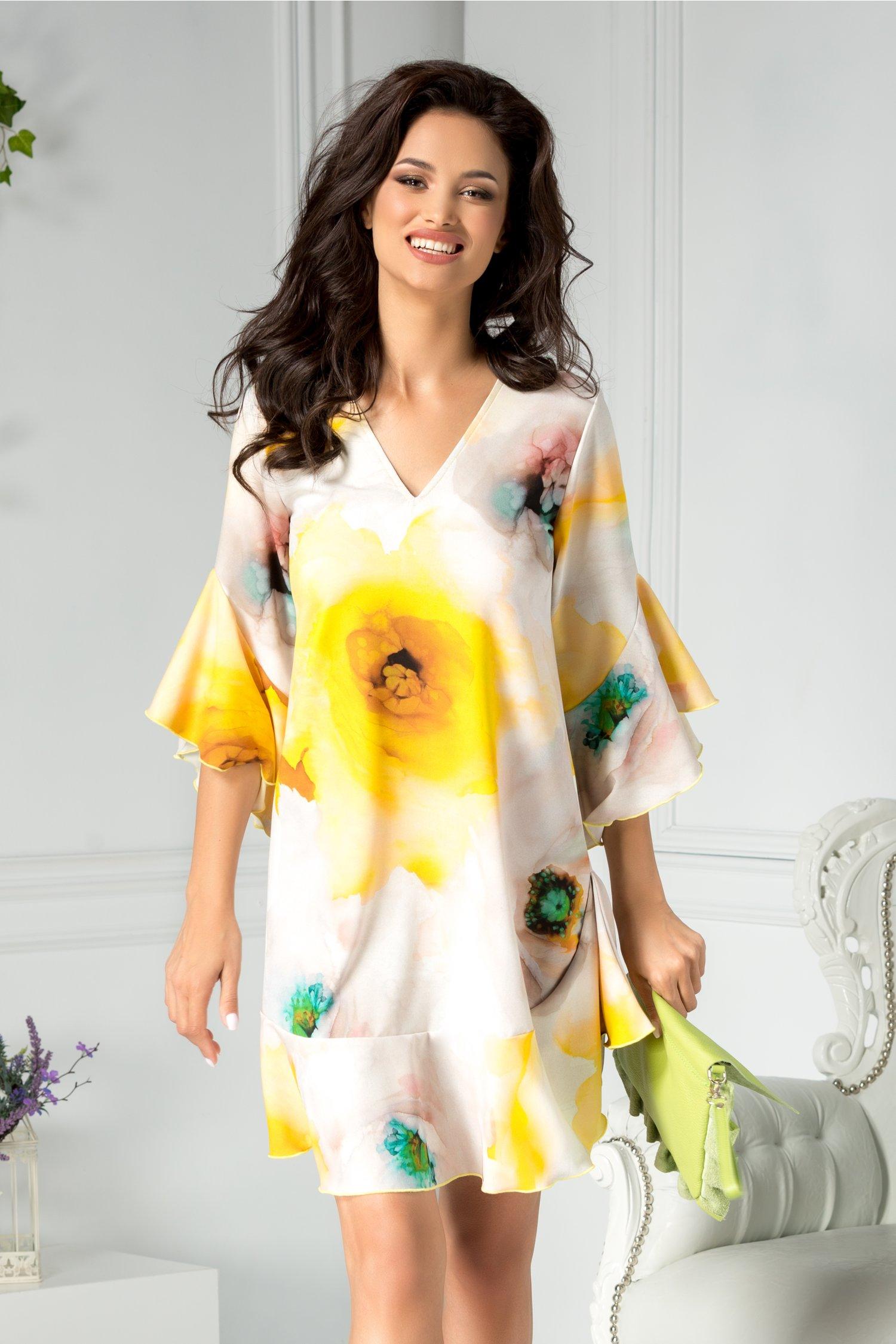 Rochie Azaleea lejera cu print galben si volane