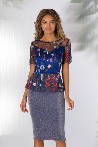 Rochie Azza albastra cu broderie florala colorata la bust si peplum in talie