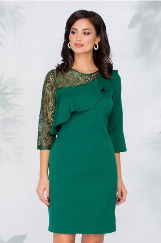 Rochie Azzie verde cu insertii din dantela