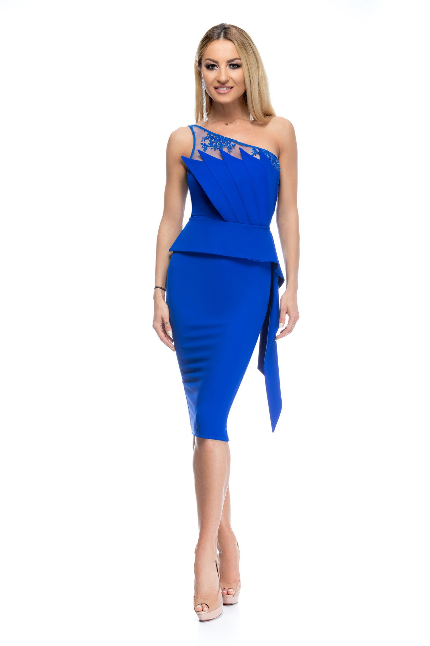 Rochie BBY albastra midi conica cu top tip evantai
