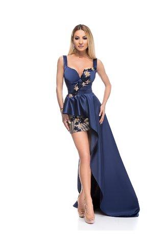 Rochie BBY de seara bleumarin cu stelute si detalii aurii