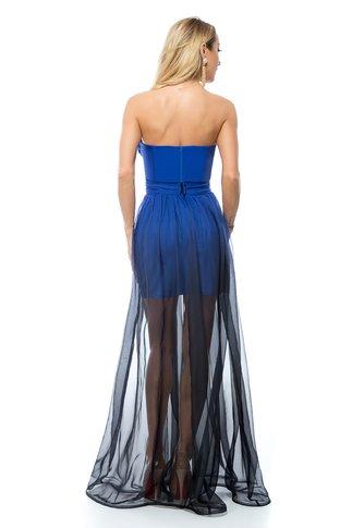 Rochie BBY lunga din voal in degrade albastru-negru