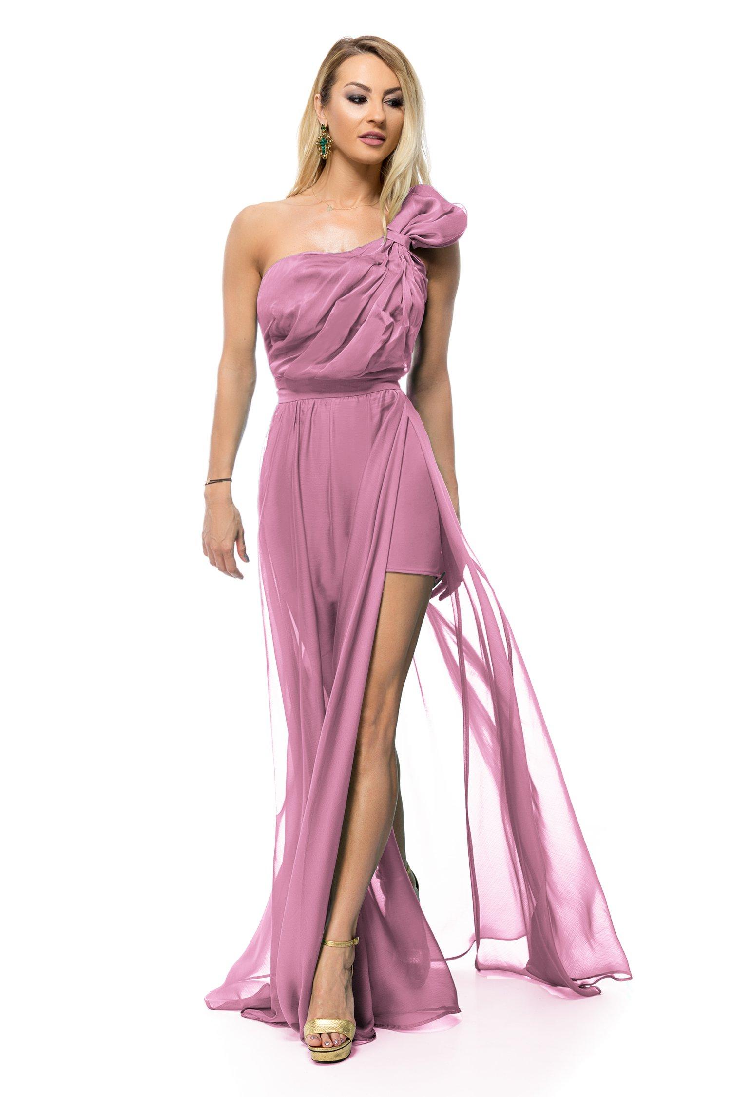 Rochie BBY lunga din voal rose cu umar supradimensional