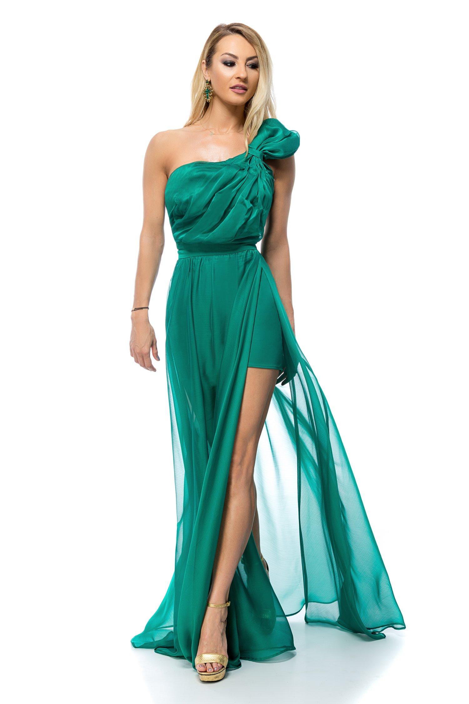 Rochie BBY lunga din voal verde cu umar supradimensional