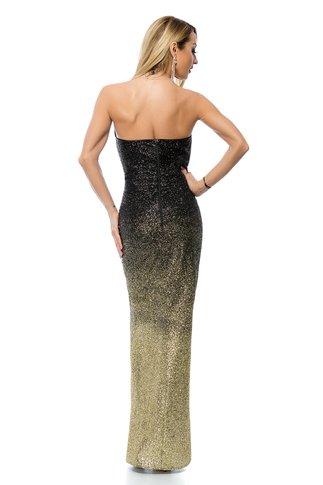 Rochie BBY lunga negru si auriu in degrade cu sclipici