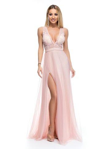 Rochie BBY lunga roz cu perlute in talie