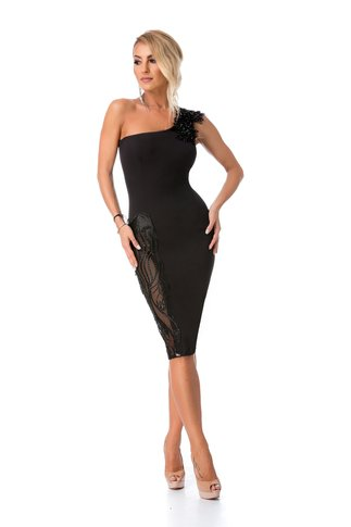 Rochie BBY neagra cu broderie si margelute