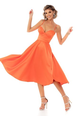 Rochie BBY orange midi din tafta