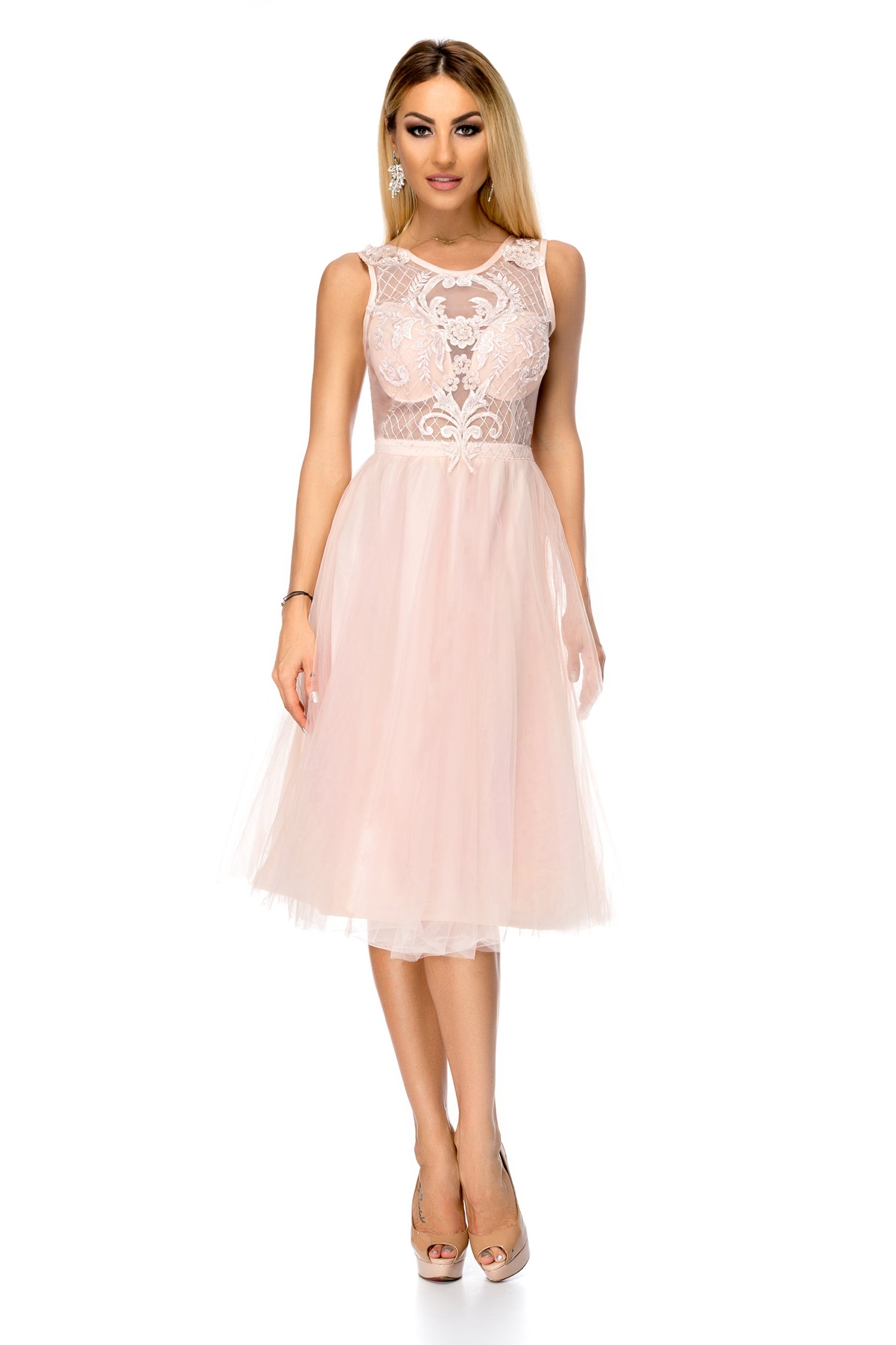 Rochie BBY rose din tull cu broderie la bust