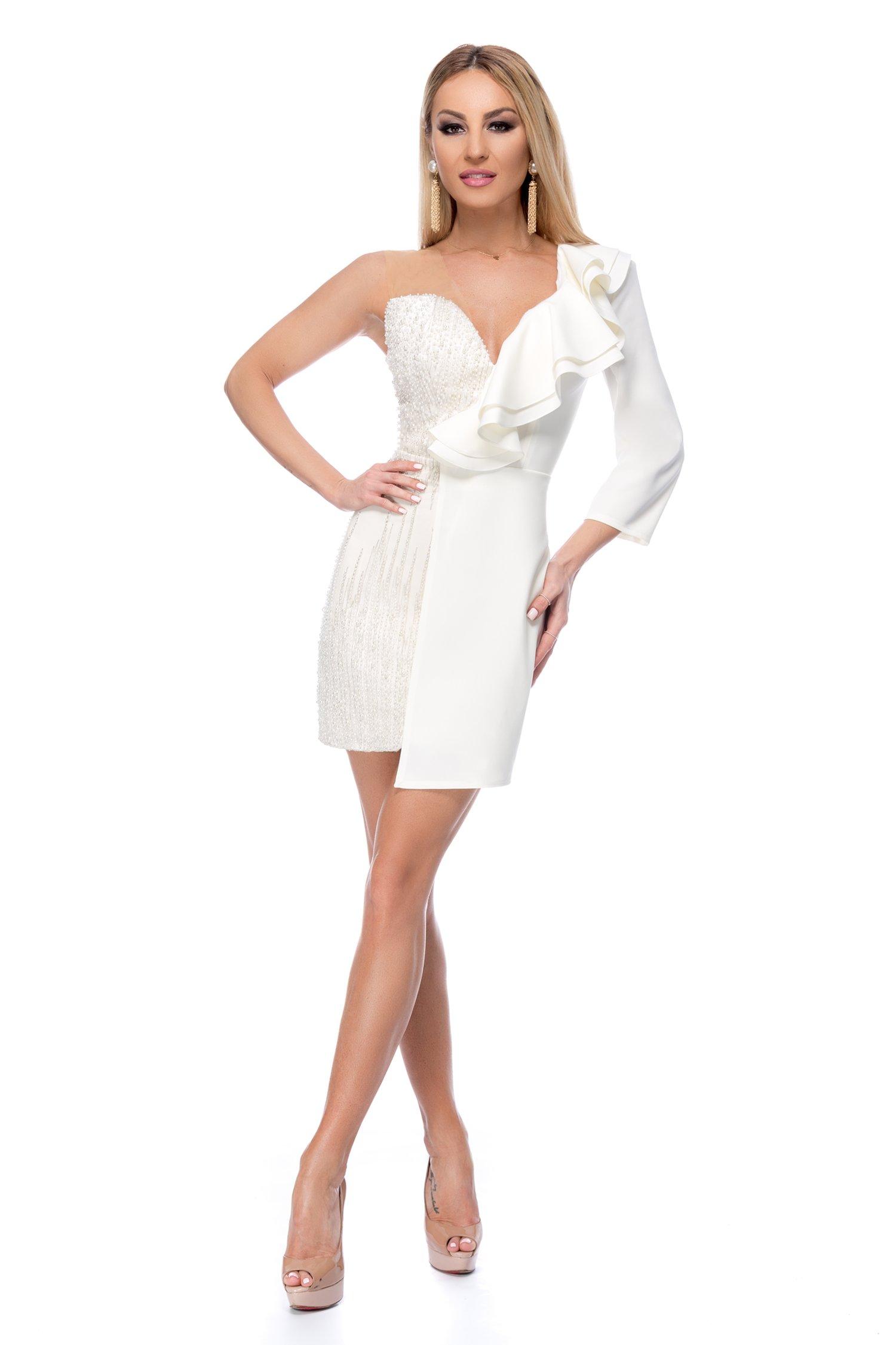 Rochie BBY scurta alba accesorizata cu perlute