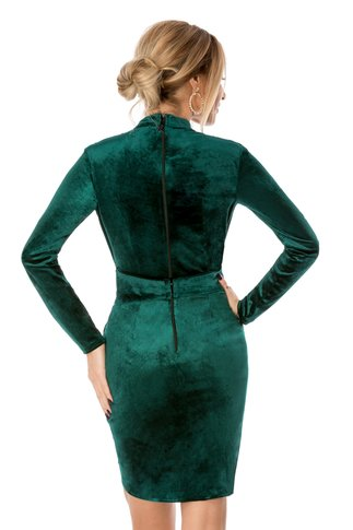 Rochie BBY verde din catifea petrecuta