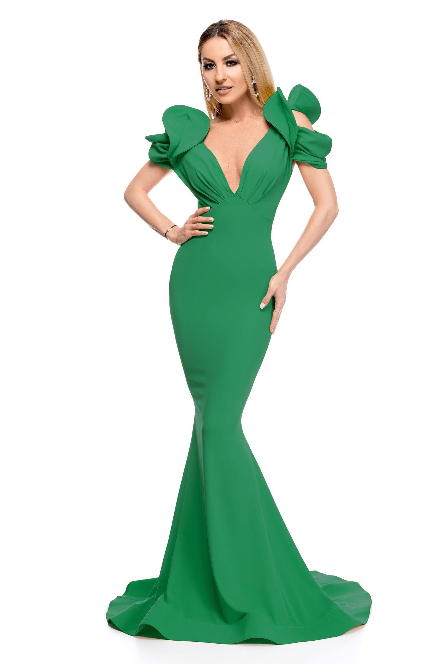 Rochie BBY verde lunga cu aplicatii la umeri