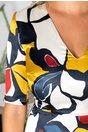 Rochie Beatrice midi cu imprimeu galben-bleumarin