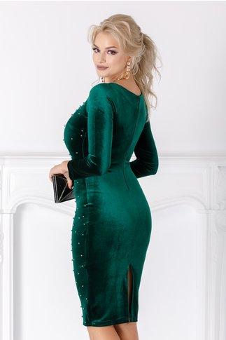 Rochie Beatrice verde din catifea cu perlute