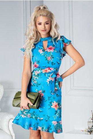 Rochie Pretty Girl Becca albastra de vara cu flori roz