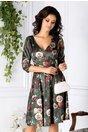 Rochie Becca verde clos cu imprimeuri florale