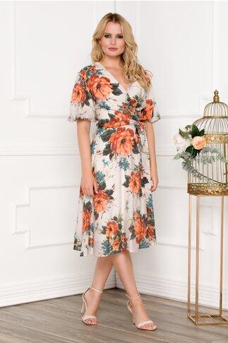 Rochie bej cu imprimeu floral portocaliu si cordon in talie