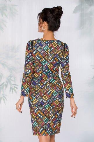 Rochie Belinda cu imprimeu geometric multicolor