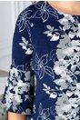Rochie Bella bleumarin cu imprimeu floral si maneci clopot