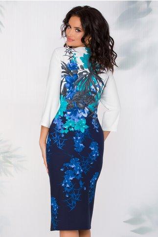 Rochie Bella bleumarin cu imprimeu floral turcoaz