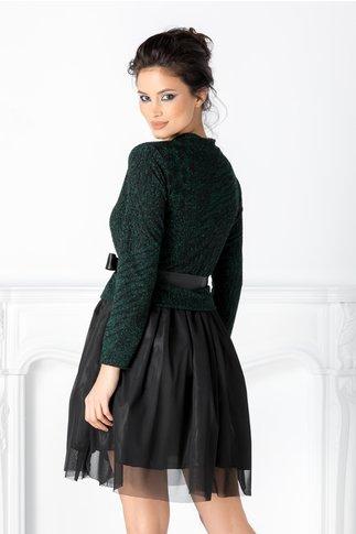 Rochie Bella cu animal print verde si tull negru
