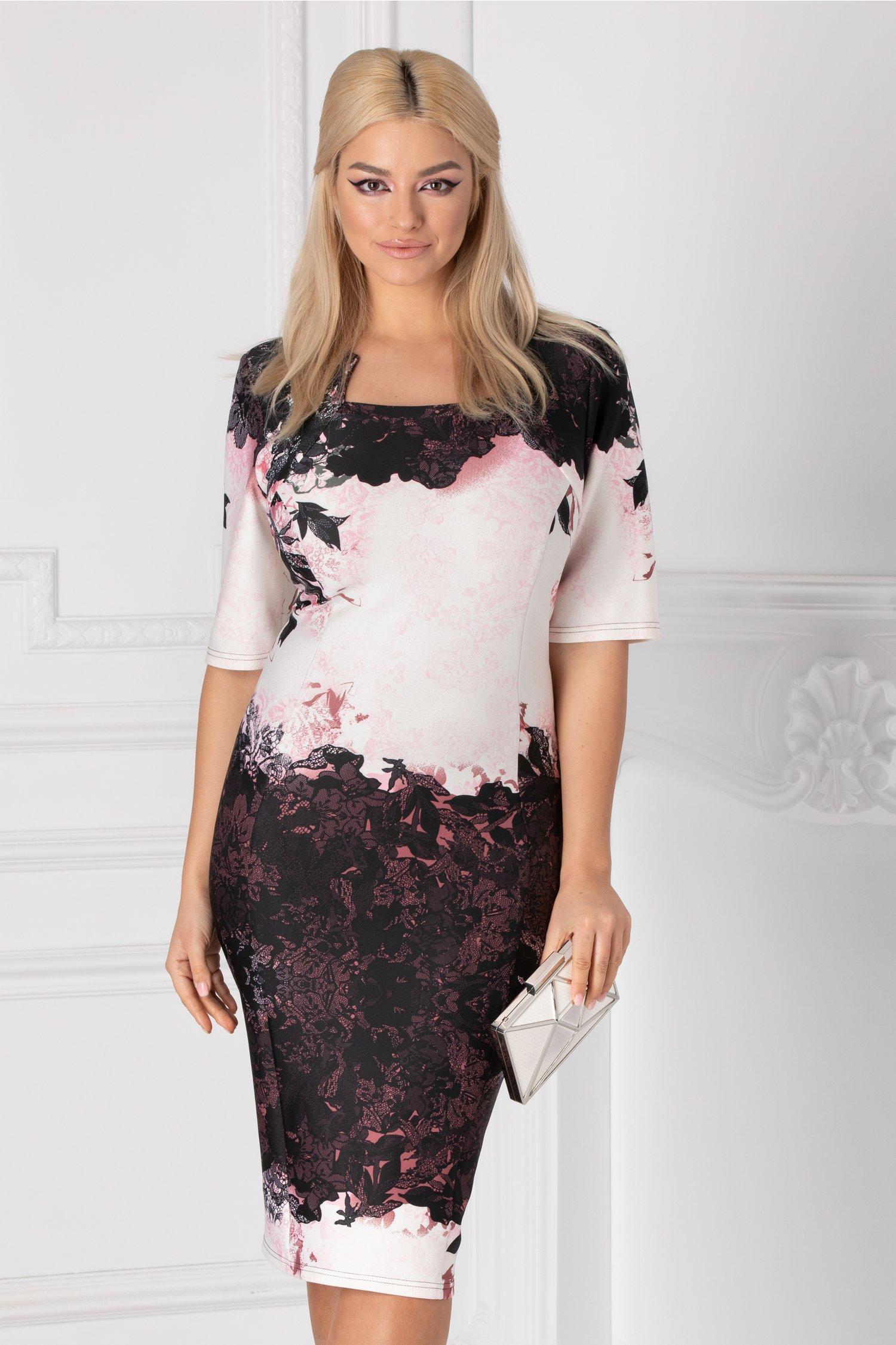 Rochie Bella cu imprimeu floral negru-roz