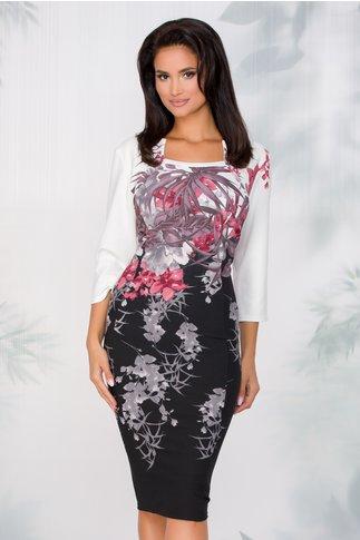 Rochie Bella cu imprimeu floral roz coniac