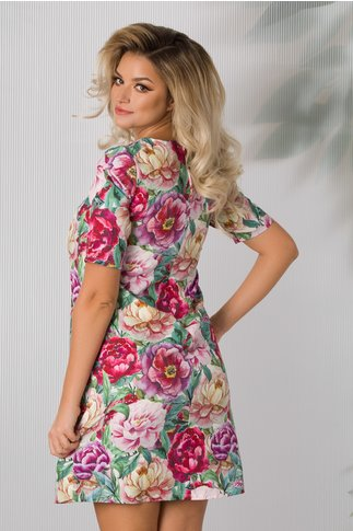 Rochie Bella evazata cu imprimeuri florale colorate