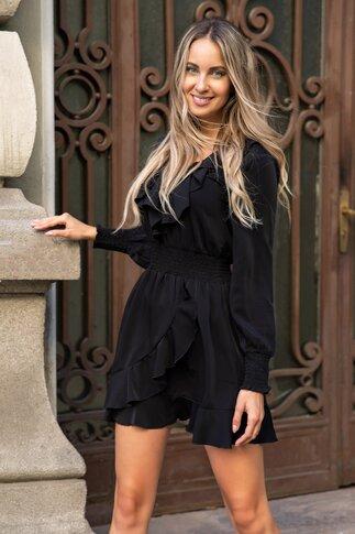 Rochie Bella neagra cu volane si talie elastica