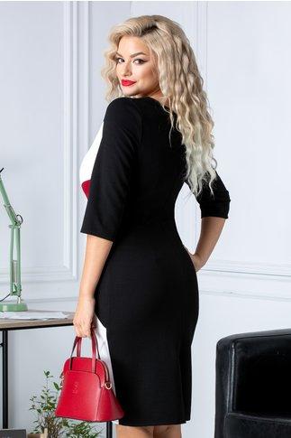 Rochie Berolla neagra cu design marsala