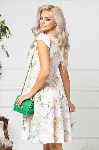Rochie Beth alba de vara cu imprimeu floral pastelat